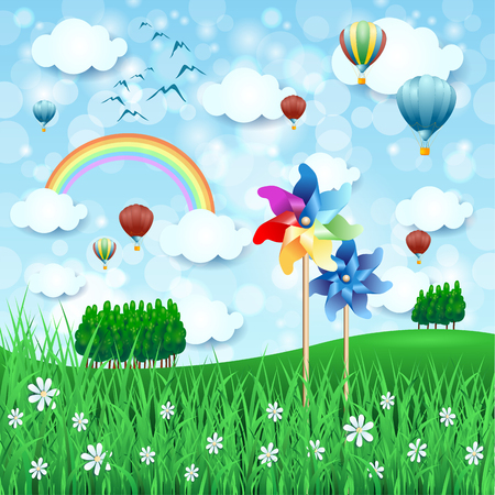 Spring landscape with pinwheels and hot air balloons, vector illustration.