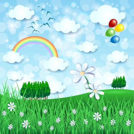 Paisaje de primavera con gran flor y globos, ilustración vectorial. Foto de archivo - 93231753