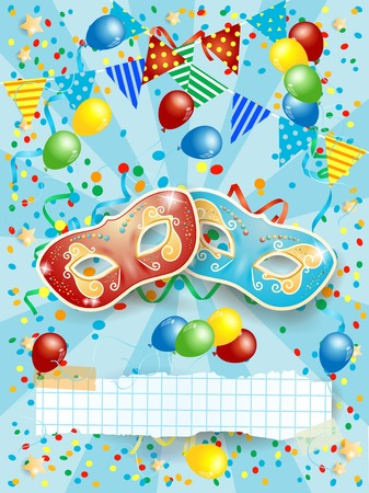 Party background with carnival masks, banner, balloons and festoon. Vector illustration eps10