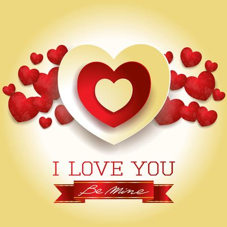 ハートとメッセージを持つバレンタインカード、黄色。