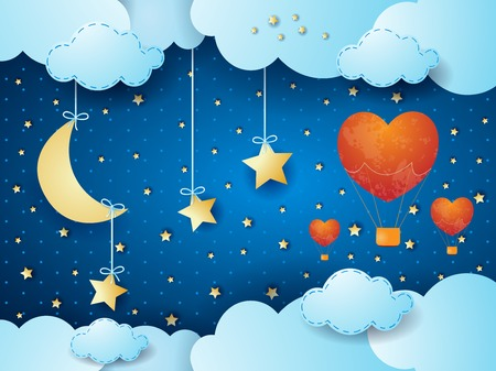 Valentine background with surreal night, moon and hot air balloons. Vector illustration
