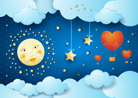Valentine illustration with surreal night, full moon and hot air balloons. Vector illustration Ilustração