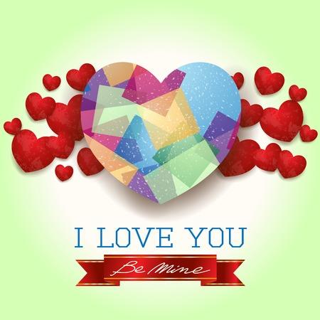 Fundo do Valentim com corações e mensagem, no verde. Foto de archivo - 94743433