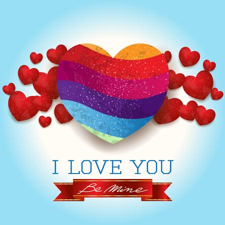 心とメッセージを持つバレンタインの背景, 青で.