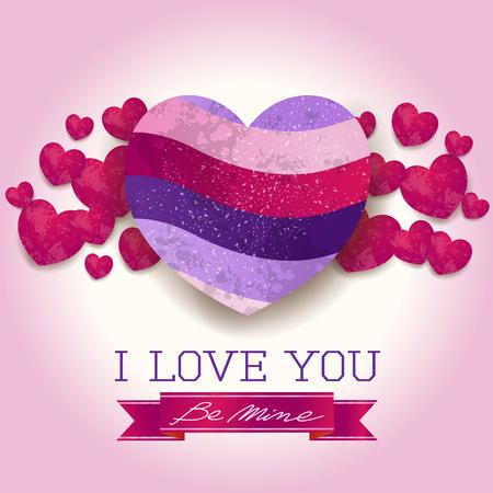 ウルトラバイオレットの心とメッセージを持つバレンタインの背景。ベクトルイラスト。
