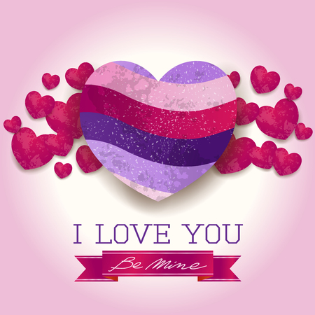 Valentine background with hearts and message in ultra violet. Vector illustration.