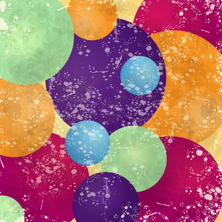 Abstract background with colorful circles and vintage texture, vector illustration Illustration