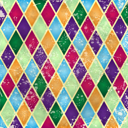 Abstract harlequin pattern, digital background with vintage texture. Vector illustration