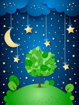 Surreal night with hanging stars and big tree, vector illustration.