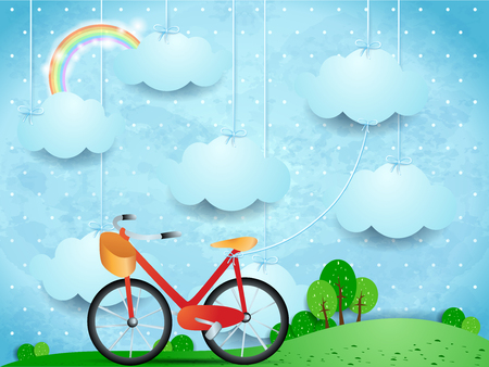 Surreal landscape with hanging clouds and bike, vector illustration