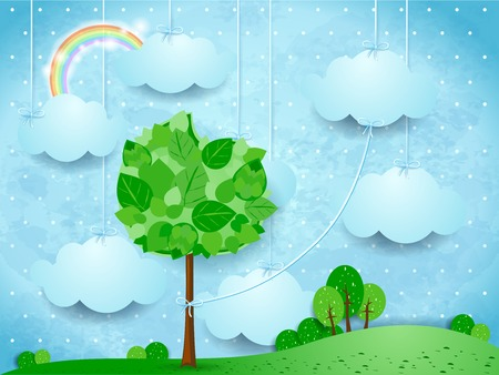 Surreal landscape with hanging clouds and big tree, vector illustration eps10