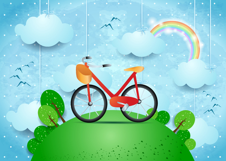 Surreal landscape with hanging clouds and bike. Vector illustration eps10