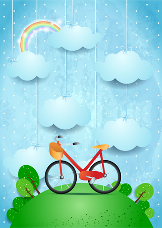 Surreal landscape with hanging clouds and bicycle, vector illustration eps10
