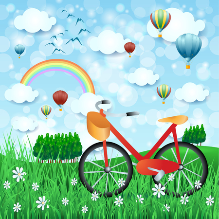 Spring landscape with bike and hot air balloons vector illustration