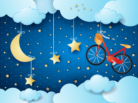 Surreal night with hanging stars and bike vector illustration 向量圖像