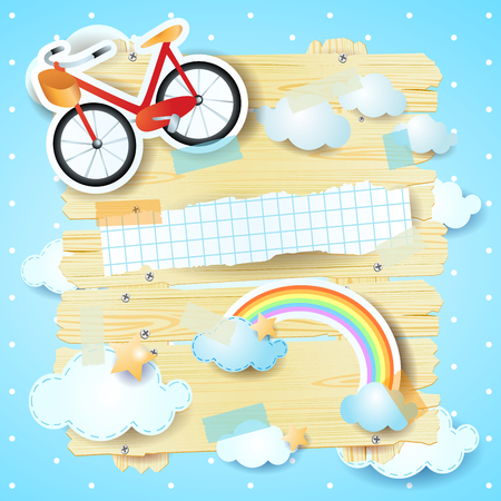 Fantasy panel with bike, clouds and rainbow design