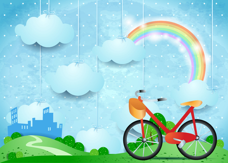 Surreal landscape with hanging clouds, city and bike.