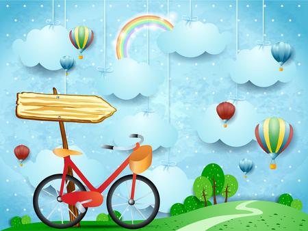 ぶら下がり雲、矢印記号と自転車とシュールな風景。ベクトルイラスト eps10  イラスト・ベクター素材