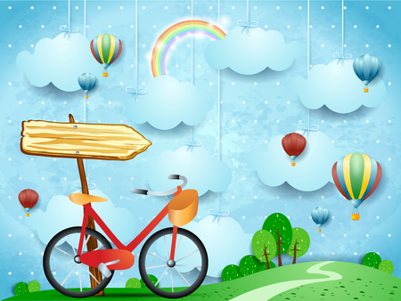 Surreal landscape with hanging clouds, arrow sign and bike. Vector illustration eps10