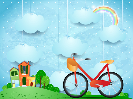 Surreal landscape with hanging clouds, homes and bike Vector illustration.