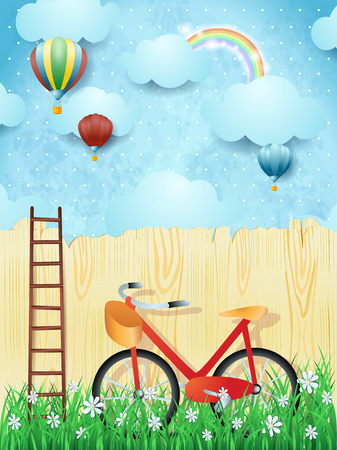 Surreal background with balloons, ladder and bike. Vector illustration eps10 Banque d'images - 96329555