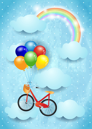 Surreal sky with clouds, rainbow and hanging bike vector illustration.