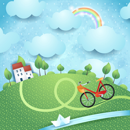 Fantasy landscape with homes, river and bike. Vector illustration