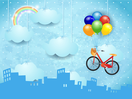Surreal skyline with hanging clouds and bike. Vector illustration.