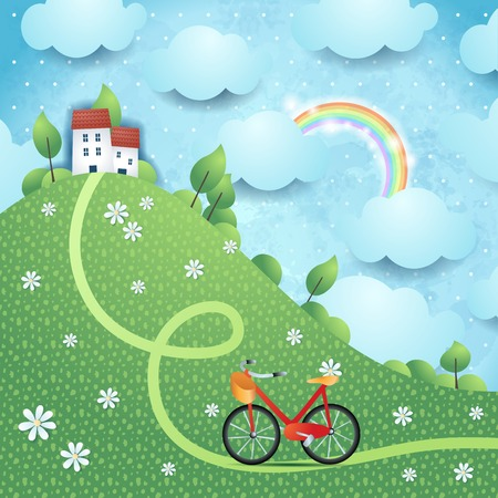 Fantasy landscape with hill, village and bike. Vector illustration.