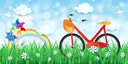 Spring landscape with bike and pinwheels, vector illustration.