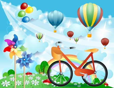 Spring landscape with bike, pinwheels and balloons. Vector illustration eps10