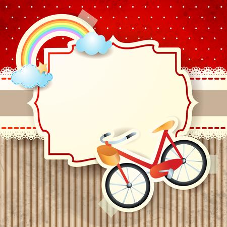 Bike and rainbow on cardboard background, vector illustration eps10 Ilustração