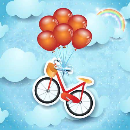 Surreal sky with bike and balloons, vector illustration eps10