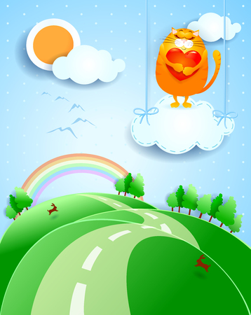 Fantasy landscape with cute cat and heart Standard-Bild - 100610908