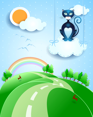 Fantasy landscape with black cat over the cloud.