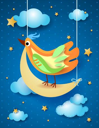 Surreal night with half moon and bird, vector illustration eps10 Banco de Imagens - 102096948