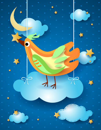 Surreal night with hanging cloud and bird, vector illustration eps10