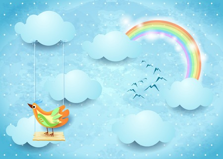 Surreal sky with swing and colorful bird, vector illustration eps10