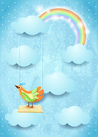 Surreal sky with swing and colorful bird Çizim