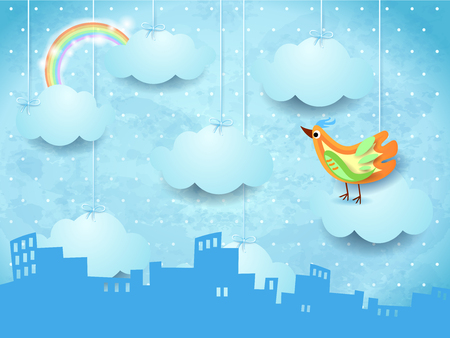 Surreal skyline with hanging clouds and colorful bird, vector illustration eps10