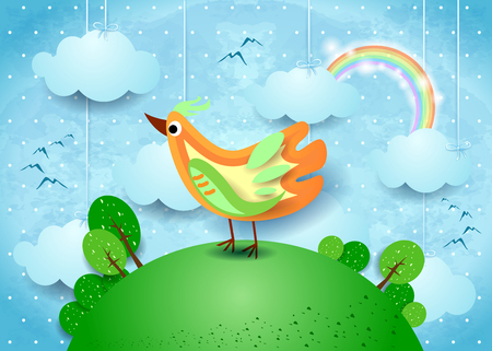 Surreal landscape with hanging clouds and colorful bird. Vector illustration eps10