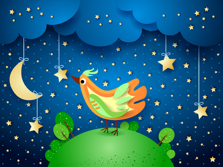 Surreal night with hanging stars and bird, vector illustration eps10