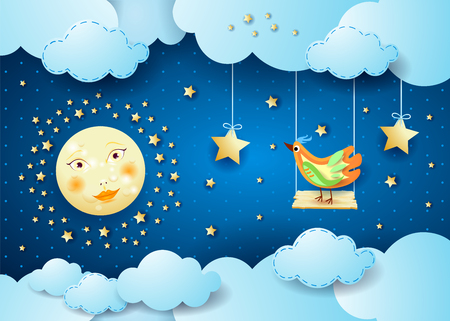 Surreal night with clouds, swing and bird