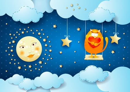 Surreal night with moon, swing and cat, vector illustration