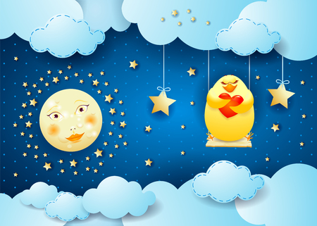 Surreal night with moon, swing and chick in love. VEctor illustration eps10