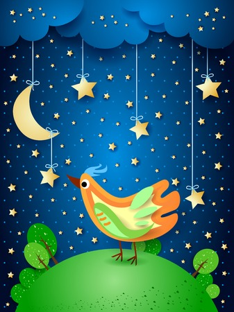 Surreal night with hanging stars and colorful bird. Vector illustration eps10