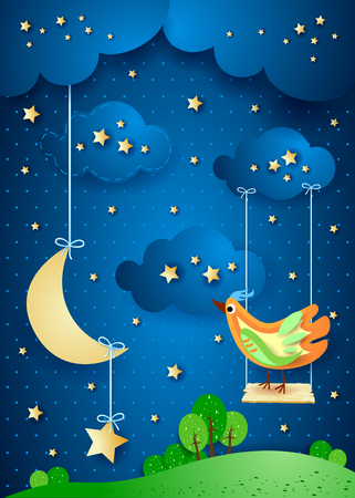 Surreal night with moon Illustration
