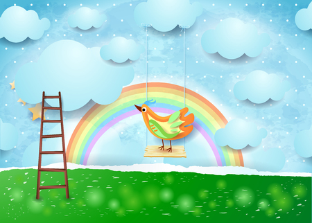 Surreal paper landscape with swing and bird, vector illustration eps10 Illustration
