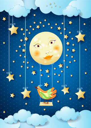 Surreal night with full moon, swing and colorful bird. Vector illustration eps10