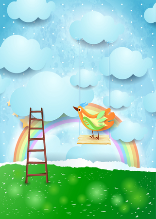 Surreal paper landscape with swing and colorful bird. Vector illustration